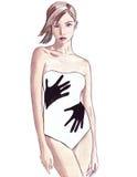 Illustrazione di bei ritratti femminili in acquerello Fotografie Stock