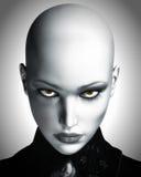 Illustrazione di bella donna futuristica calva Fotografia Stock Libera da Diritti