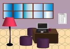 Illustrazione di bella e stanza accogliente lavorare dentro effetti 3D illustrazione vettoriale