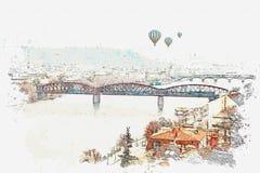 Illustrazione di bella vista di Praga illustrazione di stock
