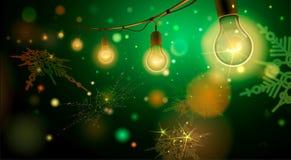Illustrazione di bello fondo con la ghirlanda fatta a mano di illuminazione per il patio, nozze, partito, luce di Natale, luci Immagine Stock Libera da Diritti