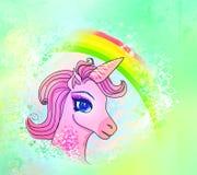 Illustrazione di bello unicorno rosa. Fotografia Stock