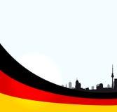 Illustrazione di Berlino di vettore con la bandiera tedesca Immagini Stock