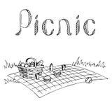Illustrazione di bianco del nero di arte grafica di picnic Fotografia Stock Libera da Diritti