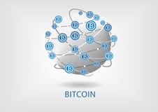 Illustrazione di Bitcoin con il globo su fondo grigio Fotografia Stock