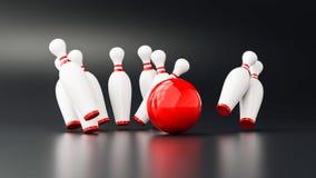 Illustrazione di bowling 3d Fotografie Stock Libere da Diritti