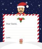 Illustrazione di Buon Natale della lettera su fondo blu Il caro Babbo Natale Fotografia Stock