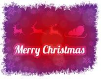 Illustrazione di Buon Natale della siluetta di Santa Claus con la slitta e tre Fotografia Stock