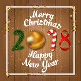 Illustrazione di Buon Natale e del buon anno di vettore 2018 Fotografia Stock Libera da Diritti