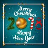 Illustrazione di Buon Natale e del buon anno di vettore 2018 Fotografie Stock Libere da Diritti