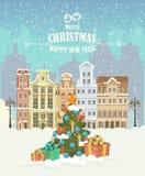 Illustrazione di Buon Natale Paesaggio di inverno Cartolina d'auguri anno felice di nuovo e di Buon Natale illustrazione di stock