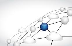 illustrazione di calcolo della rete di collegamento della nuvola Immagini Stock Libere da Diritti
