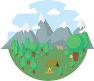 Illustrazione di campeggio piana di vettore delle icone di viaggio Fotografia Stock