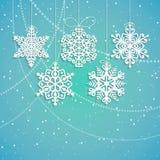 Illustrazione di carta d'attaccatura di vettore dei fiocchi di neve Fotografia Stock Libera da Diritti