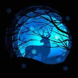 Illustrazione di carta di stile di arte di vettore della stagione invernale Cervi nella foresta della neve Immagini Stock Libere da Diritti