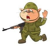 Illustrazione di Cat Special Forces Cartoon Character sveglia Fotografia Stock