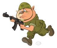 Illustrazione di Cat Special Forces Cartoon Character sveglia Immagine Stock