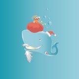 Illustrazione di Claus della balena Immagini Stock Libere da Diritti