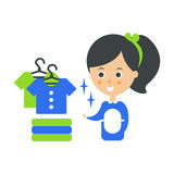 Illustrazione di Cleanup Service Maid And Clean Clothes, Cleaning Company Infographic Fotografia Stock