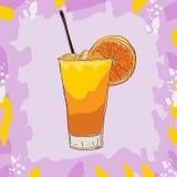 Illustrazione di colore del cocktail del cacciavite Bevanda alcolica della barra disegnata a mano illustrazione vettoriale