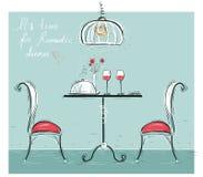 Illustrazione di colore imprecisa della cena romantica su bianco illustrazione vettoriale