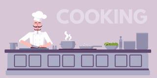 Illustrazione di colore piana dell'officina culinaria illustrazione vettoriale