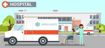 Illustrazione di colore piana di vettore dell'ambulanza dell'ospedale illustrazione vettoriale