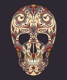 Illustrazione di colore di un cranio dello zucchero La festa del giorno dei morti Fotografie Stock