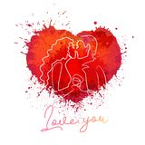 Illustrazione di colore di vettore del cuore della spruzzata della pittura L'acquerello di amore schizza il disegno illustrazione vettoriale