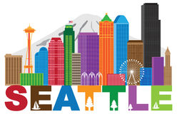 Illustrazione di colori del andText dell'orizzonte della città di Seattle Immagine Stock