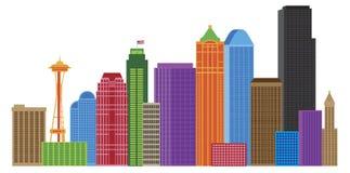 Illustrazione di colori dell'orizzonte della città di Seattle royalty illustrazione gratis