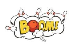 Illustrazione di colpo di bowling del fumetto di vettore Palla da bowling e birilli rossi commoventi Immagini Stock