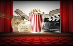 Illustrazione di concetto 3d del cinema fotografia stock libera da diritti