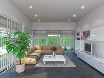 Illustrazione di concetto 3d, interior design del salone Immagine Stock Libera da Diritti