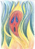 Illustrazione di concetto del fuoco di timore e dell'inferno Fotografia Stock
