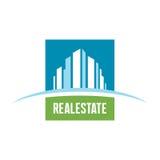 Illustrazione di concetto del modello di logo del bene immobile Segno astratto della costruzione Simbolo di paesaggio urbano Inse Fotografia Stock Libera da Diritti