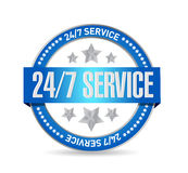 24-7 illustrazione di concetto del segno della guarnizione di servizio Fotografia Stock