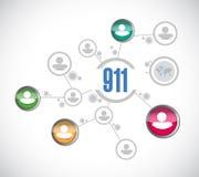 Illustrazione di concetto del segno della rete di 911 persone Fotografia Stock Libera da Diritti