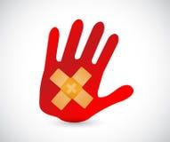 illustrazione di concetto della soluzione della correzione dell'aiuto di banda della mano Fotografia Stock