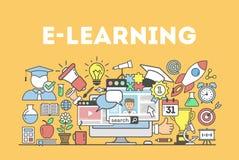 Illustrazione di concetto di e-learning royalty illustrazione gratis