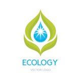 Illustrazione di concetto di ecologia - vettore astratto Logo Sign Template Foglie ed illustrazione di goccia royalty illustrazione gratis