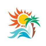 Illustrazione di concetto di logo di vettore di vacanza di viaggio di estate Fotografia Stock