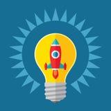 Illustrazione di concetto di partenza e di idea Rocket in lampadina - illustrazione creativa nella progettazione piana di stile royalty illustrazione gratis