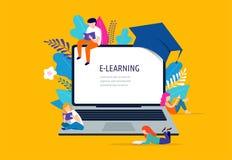 Illustrazione di concetto di e-learning Grande computer portatile con un cappuccio accademico quadrato illustrazione di stock