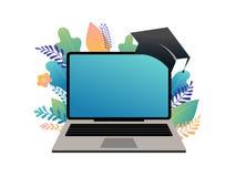 Illustrazione di concetto di e-learning Grande computer portatile con un cappuccio accademico quadrato illustrazione vettoriale