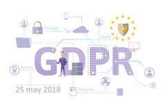 Illustrazione di concetto di GDPR Regolamento generale di protezione dei dati La protezione dei dati personali Vettore, isolato s illustrazione vettoriale