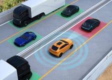 Illustrazione di concetto per l'automobile autonoma Fotografie Stock Libere da Diritti