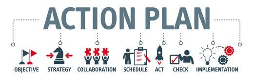 Illustrazione di concetto di piano d'azione dell'insegna con le parole chiavi e illustrazione di stock