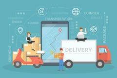 Illustrazione di concetto di servizi di distribuzione Veloce e sicuro illustrazione vettoriale