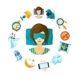 Illustrazione di concetto di vettore con gli elementi di sonno del fumetto intorno alla persona addormentata della donna illustrazione di stock